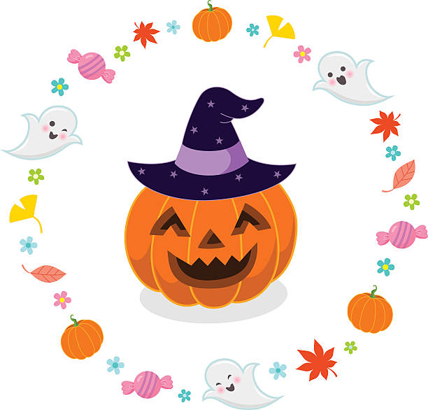 Cute Jack O Lantern Faces Silhouette Clip Art, Vector Images.