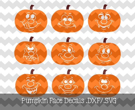 Halloween Pumpkin Face Decals.DXF/.SVG Files for use with your.