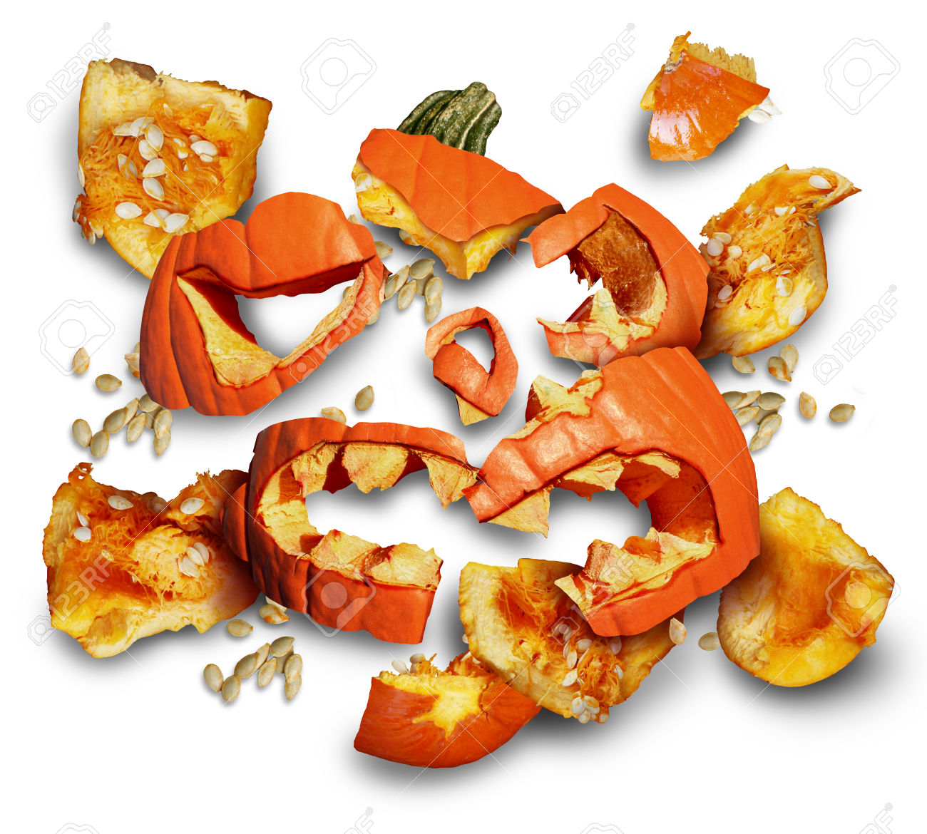 Pumpkin Smashed On A White Background As A Concept And Symbol.