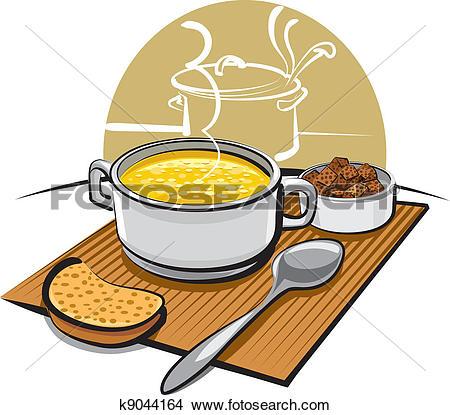 Clip Art of pumpkin soup with croutons k9163266.