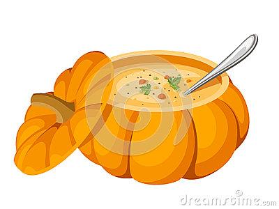 Pumpkin soup clipart.