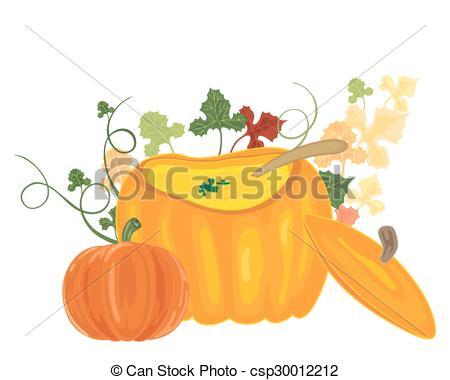 Vector Clip Art of pumpkin soup bowl.
