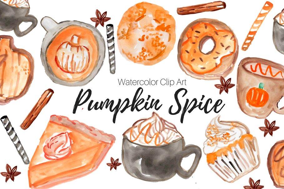 Pumpkin Spice Watercolor Clip Art.