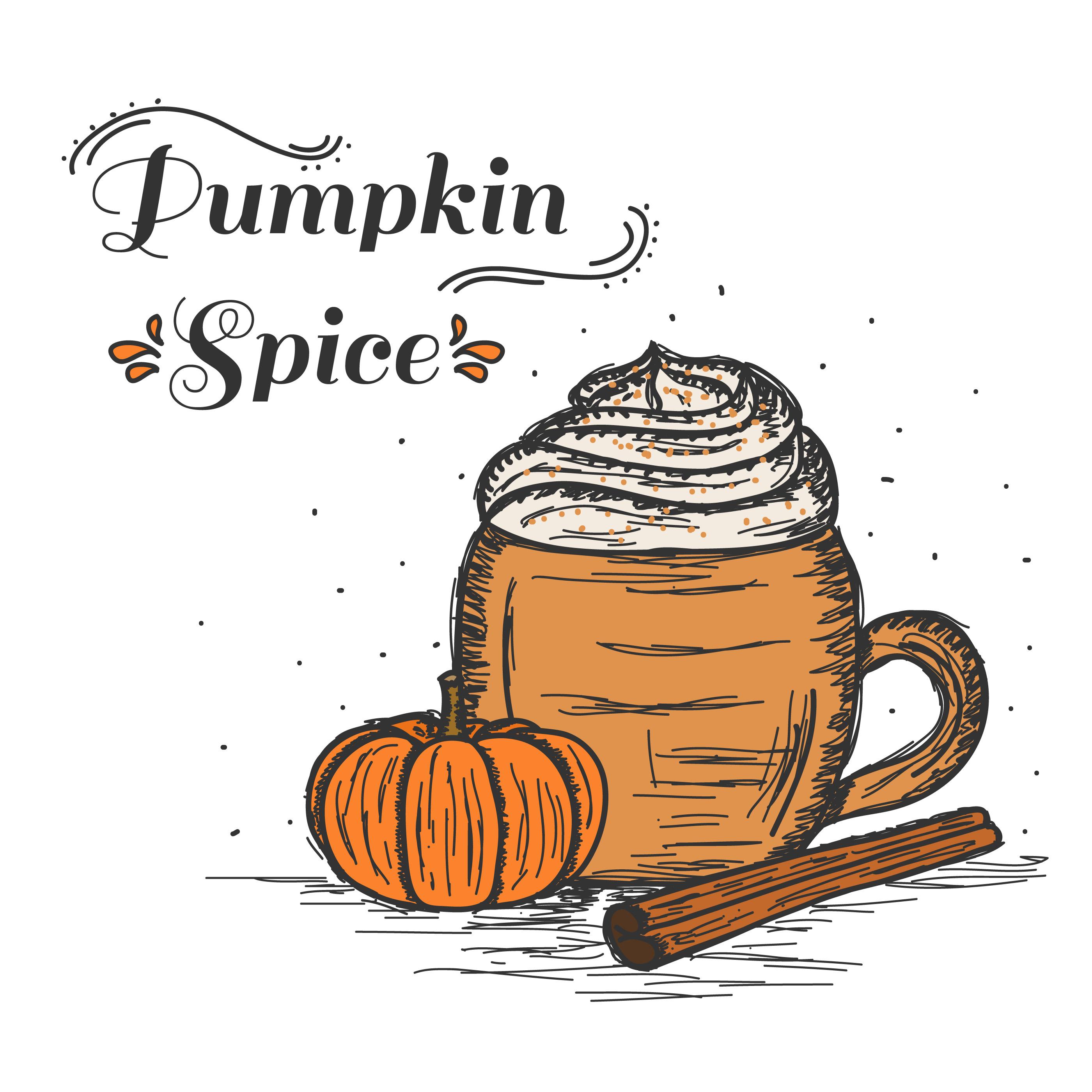 Pumpkin Spice Latte Free Vector Art.