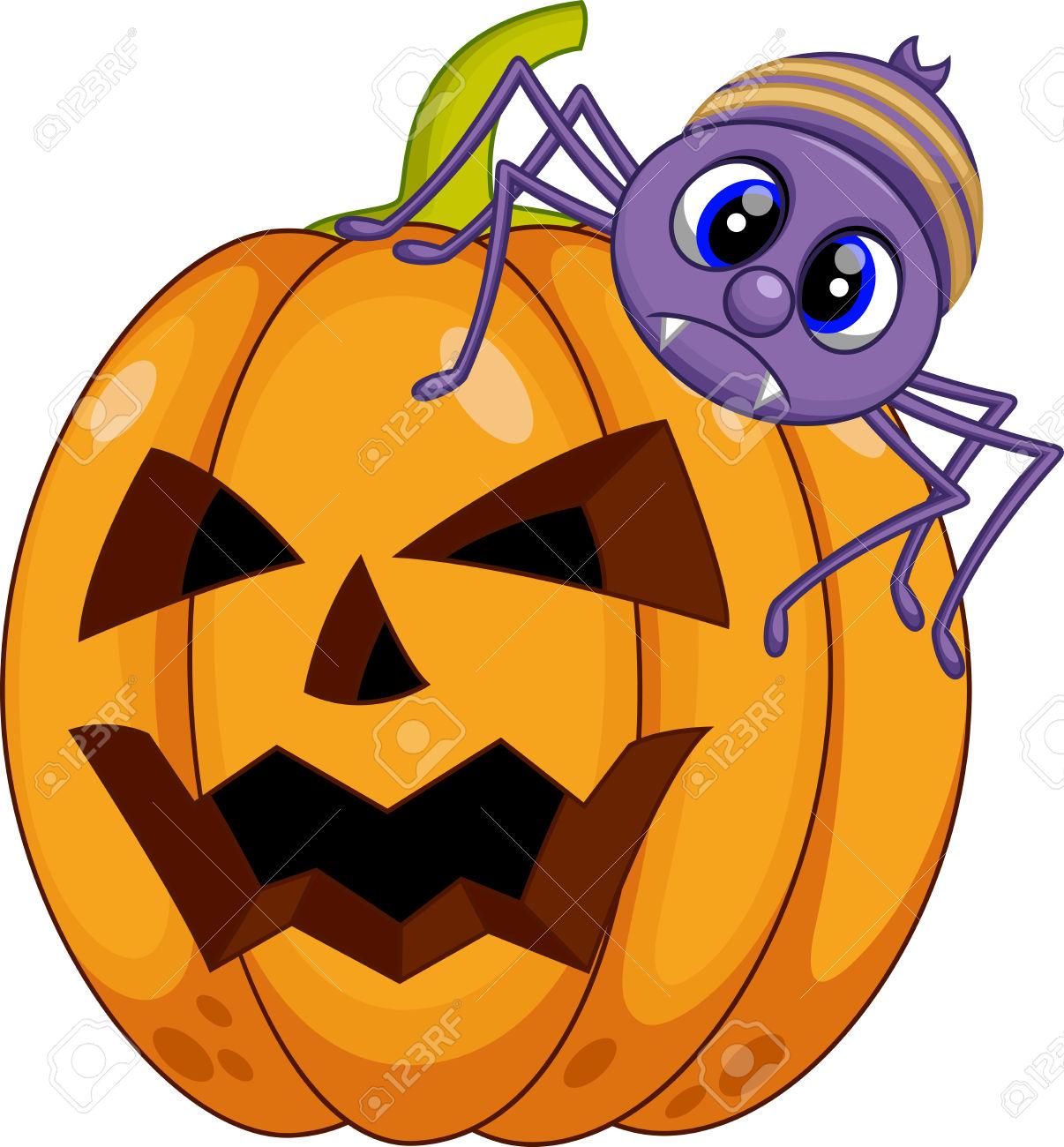 Pumpkin And Spider Cartoon Royalty Free Cliparts, Vectors, And.