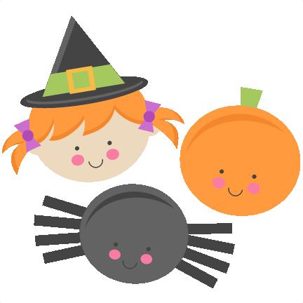 Cute Halloween Monsters Witch Pumpkin Spider SVG scrapbook cut.