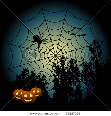 Pumpkins and spider web clipart.