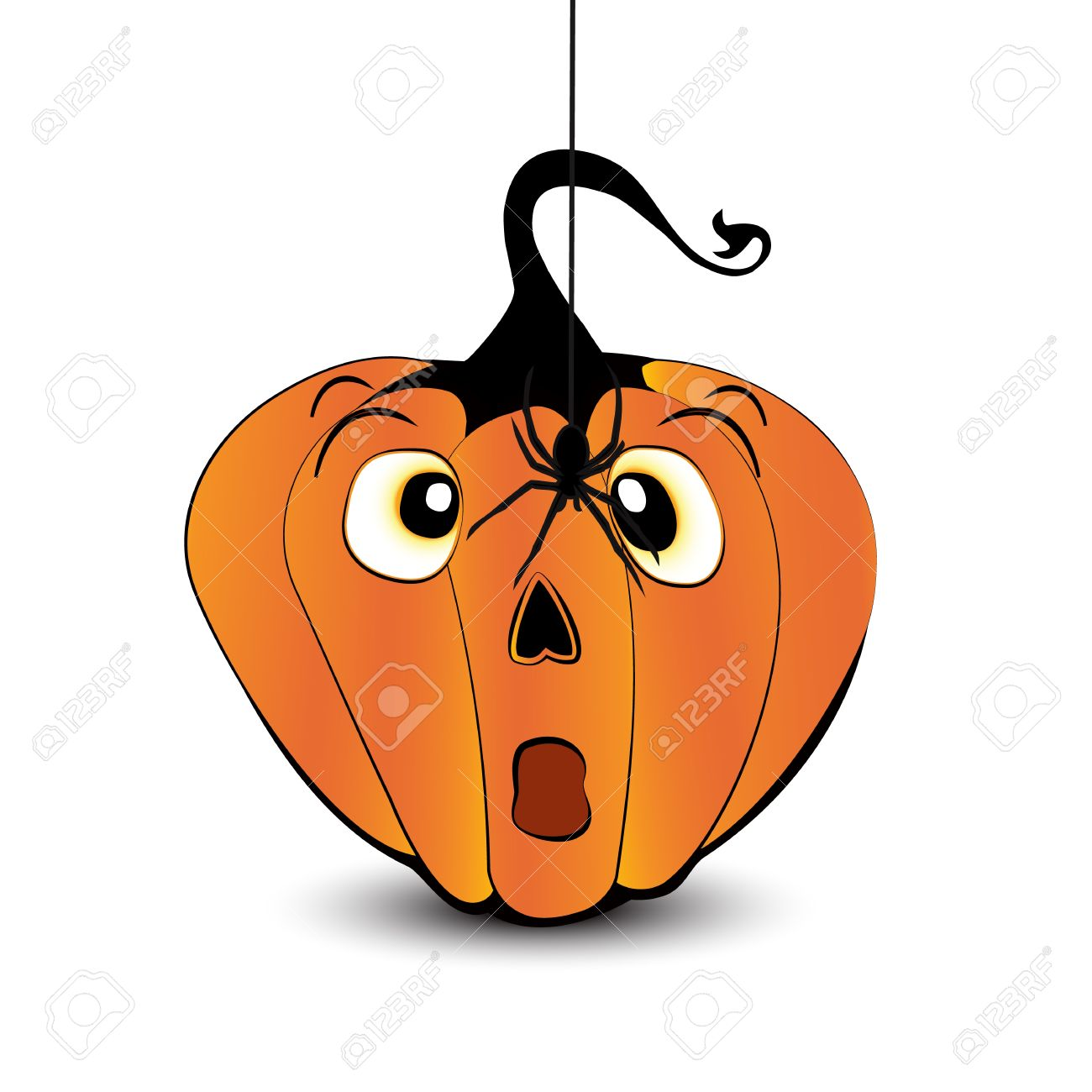 Scared Pumpkin Face With A Spider Isolated On White Background.