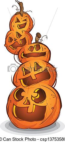 Vector of Pile of Carved Halloween Pumpkins.