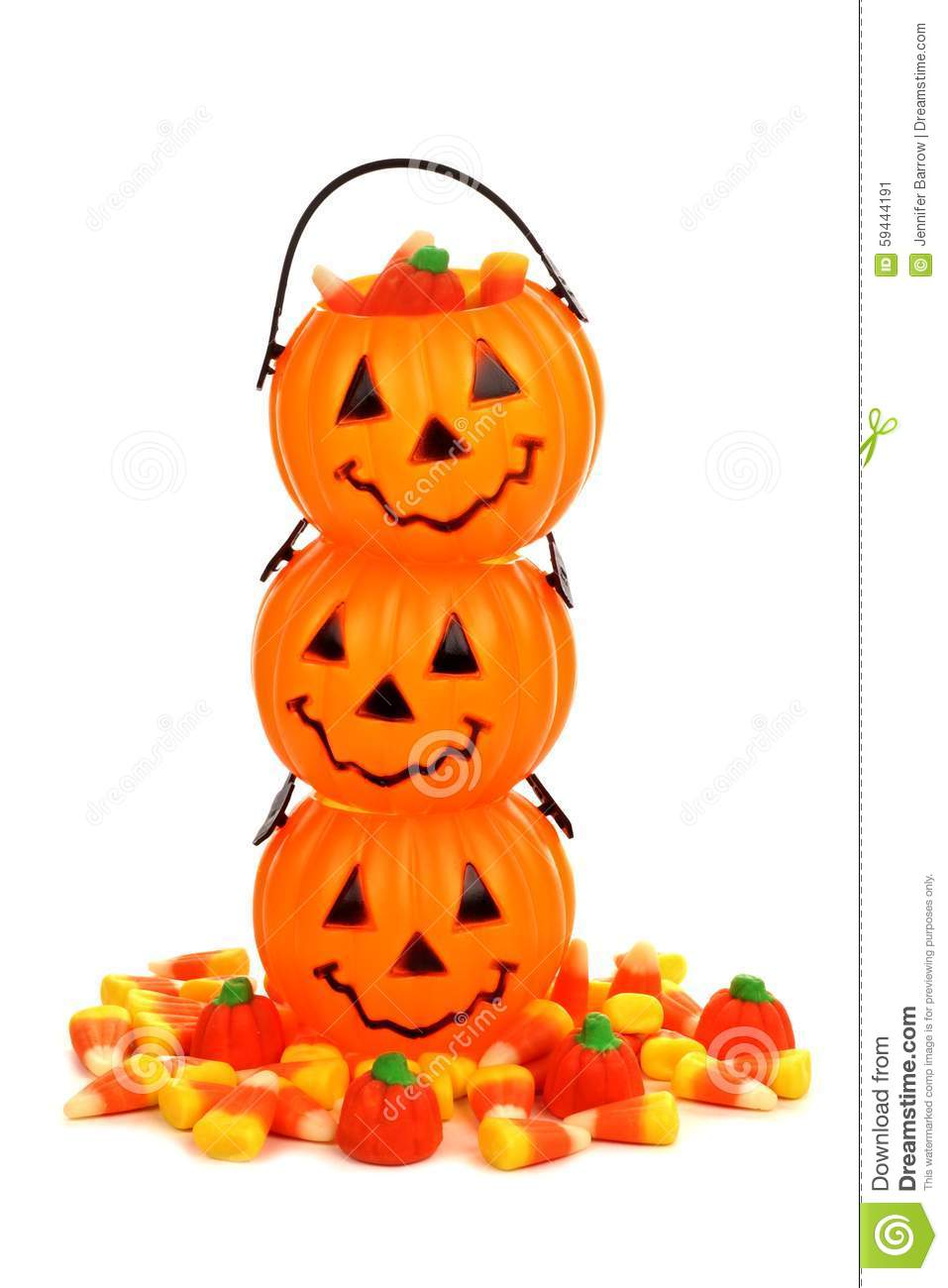 Stack Of Halloween Jack O Lantern Candy Holders Over White Stock.