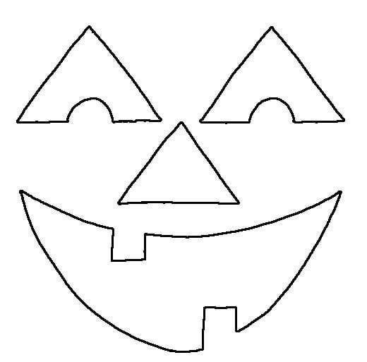 Happy Pumpkin Face Coloring Page.