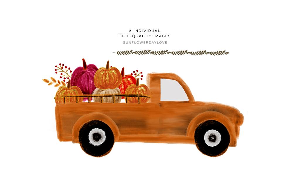 Pumpkin Truck Watercolor Fall clipart, thanksgiving autumn.