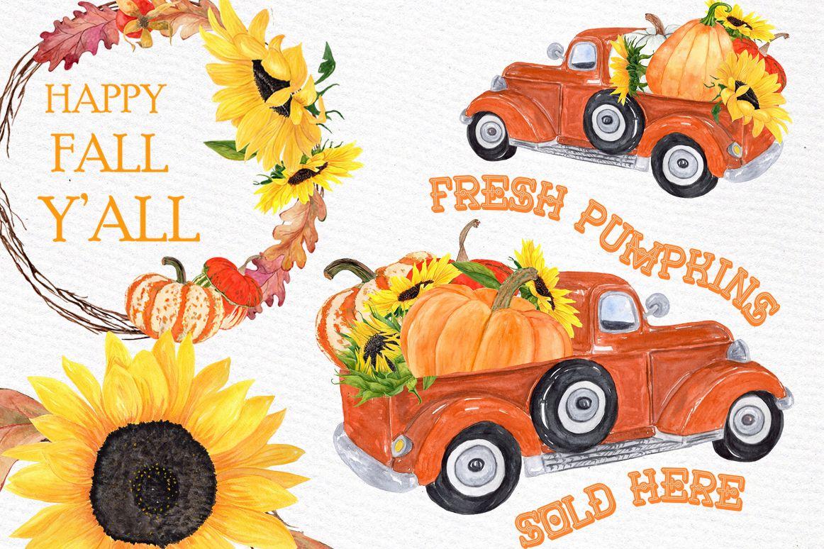 Pumpkin Clipart, TRUCK WITH PUMPKINS, Thanksgiving clipart.