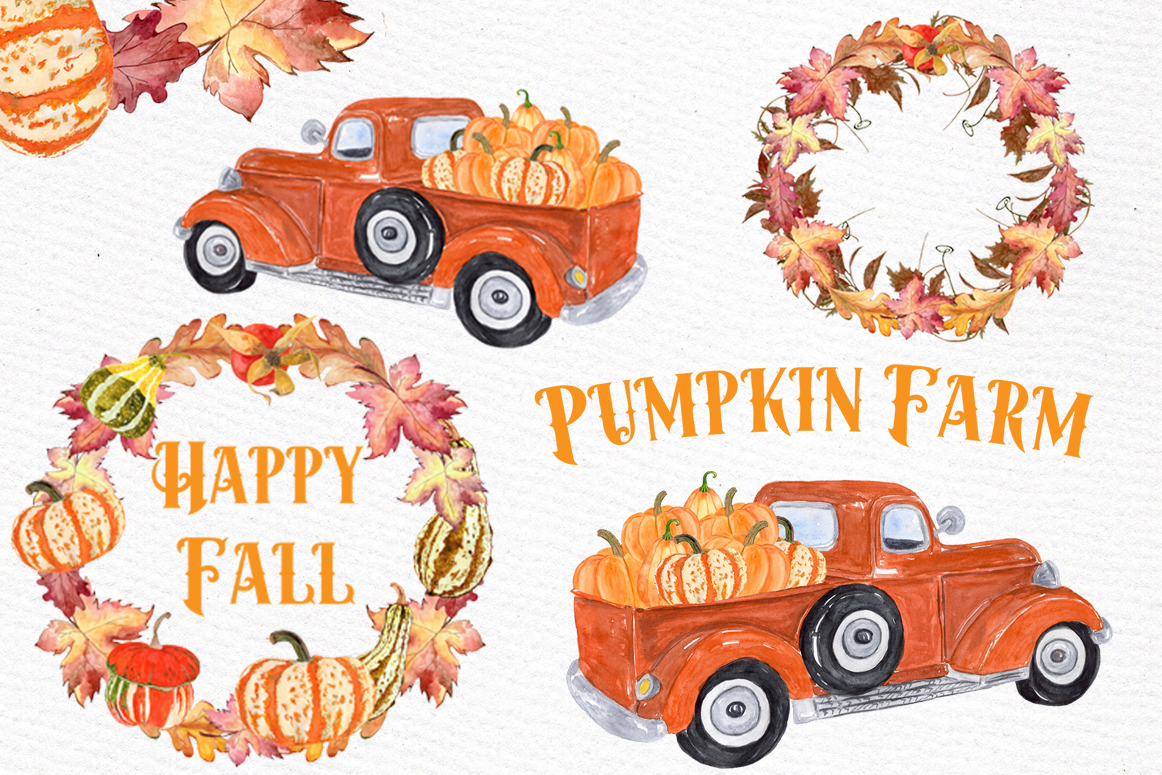 Pumpkin Truck Farm Clipart.