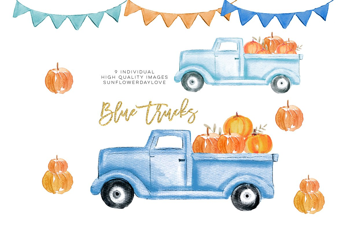 Fall Pumpkin Truck Clipart.