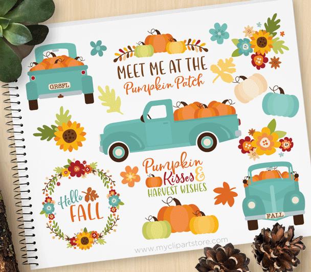 Teal Pumpkin Truck Clipart.