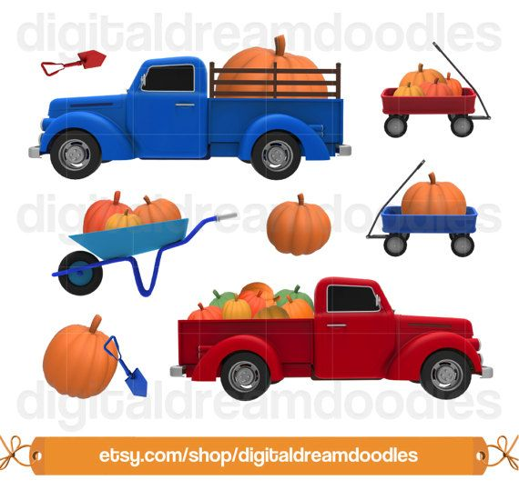 Pumpkin Patch Clipart, Pumpkin Truck Clip Art, Autumn.