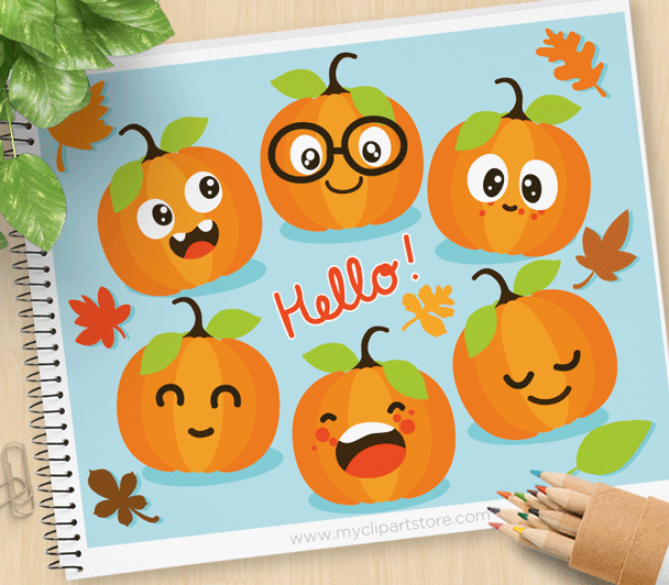 Cute Pumpkins Clipart.