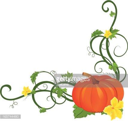 Pumpkin Vine Border Clipart Image.