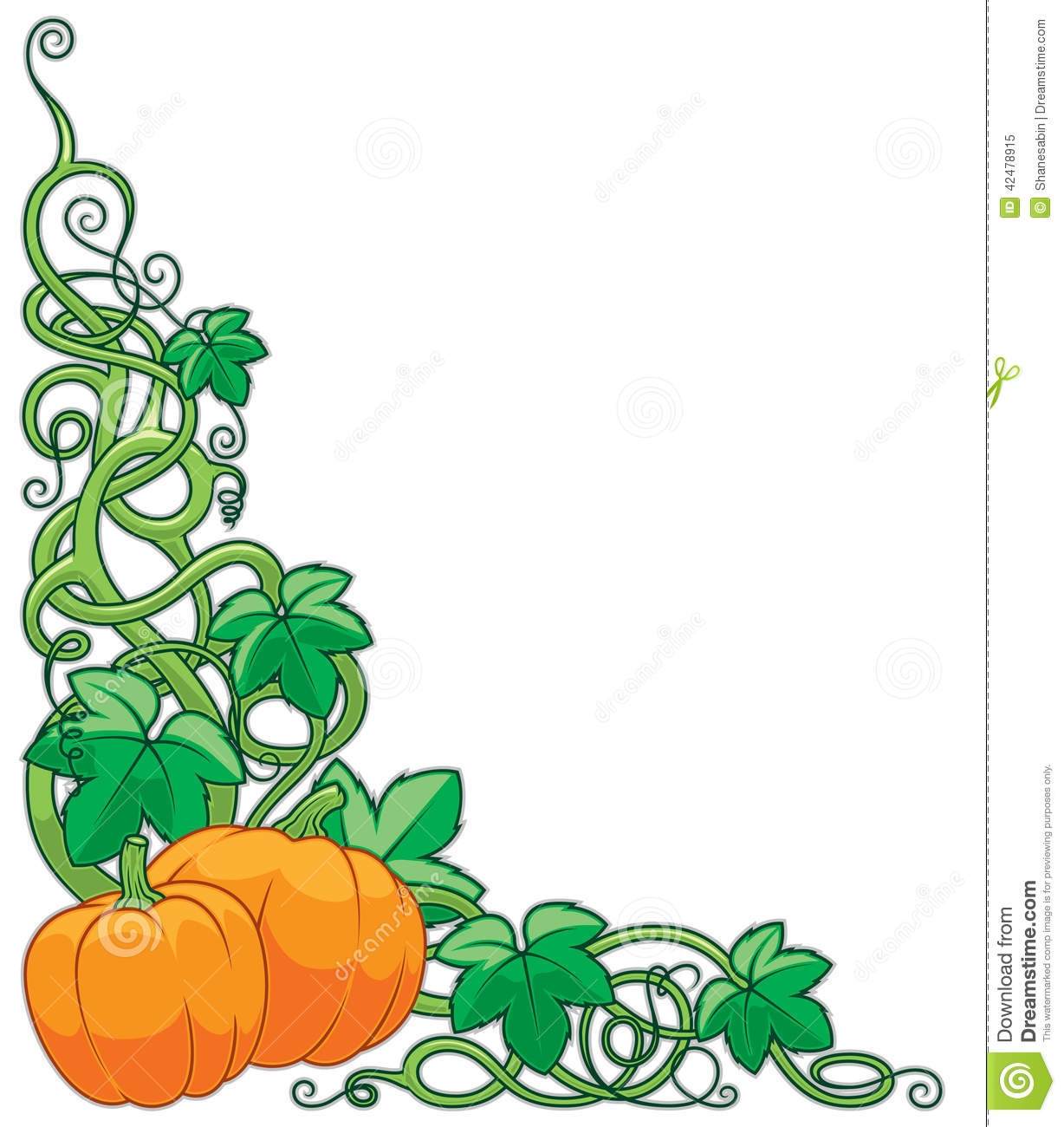 Pumpkin Vines Clipart.
