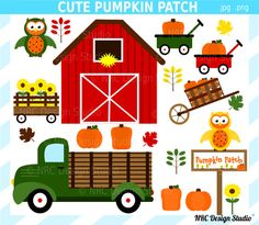Pumpkin Patch Fall Pumpkins Cute Clip Art by emilyanndesignstudio.