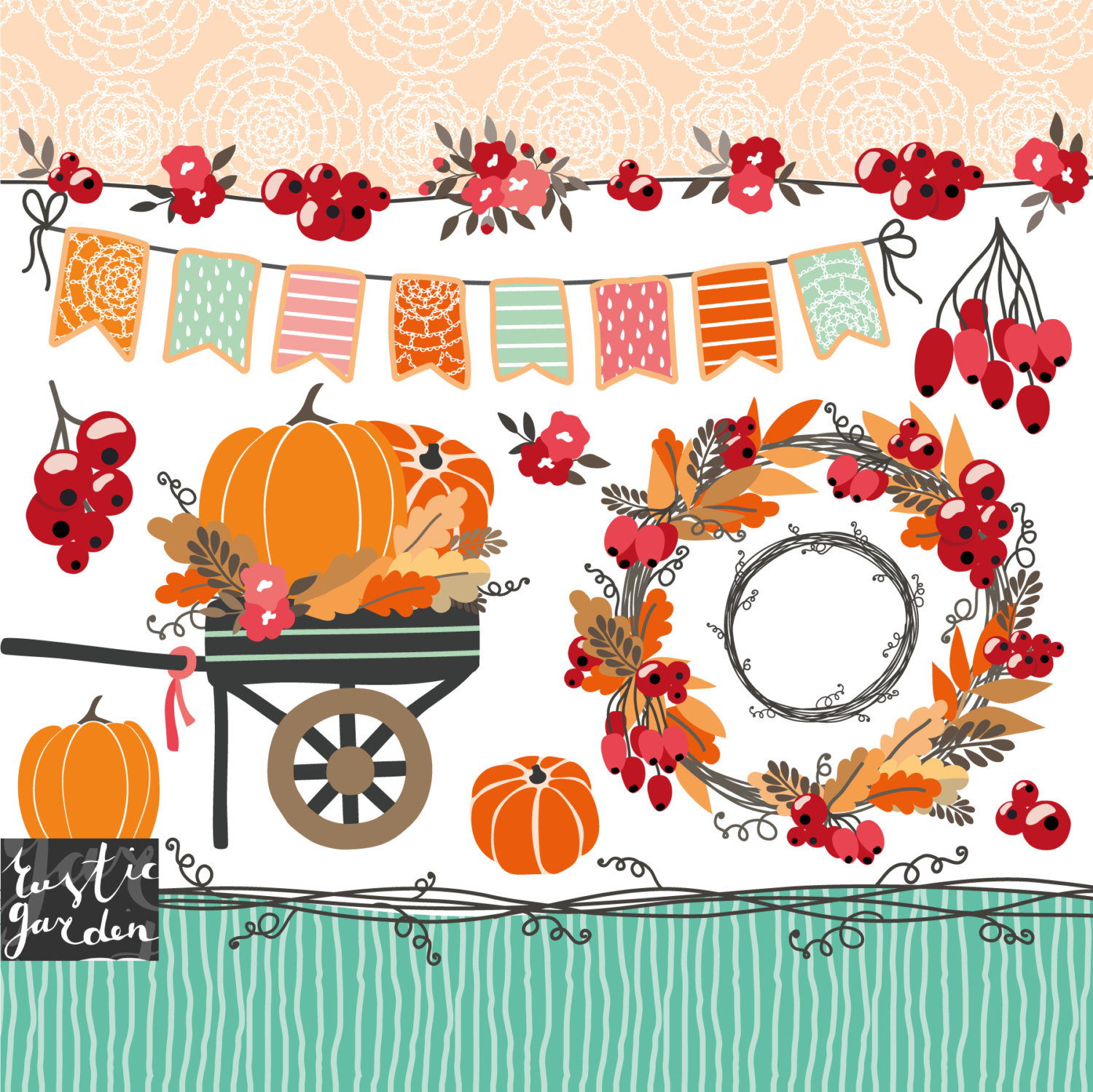 Fall wreath clipart, thanksgiving clipart, wagon with pumpkins.