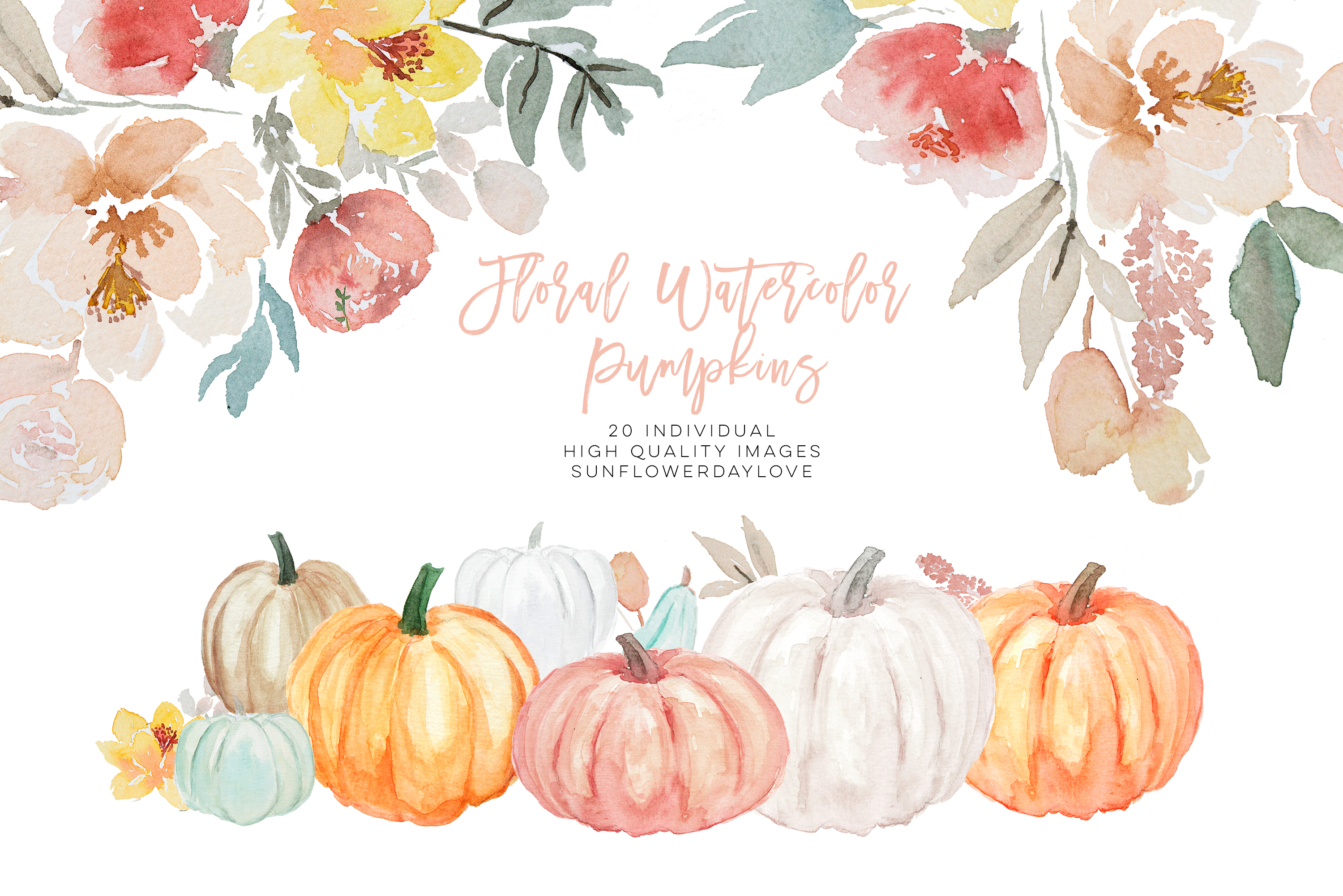 Pumpkin and Floral Watercolor fall clipart.