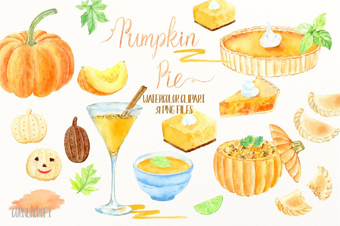 Watercolor clipart pumpkin pie, soup, cocktail, empanadas, biscuit, pumpkin  dish, thanksgiving pumpkins instant download.