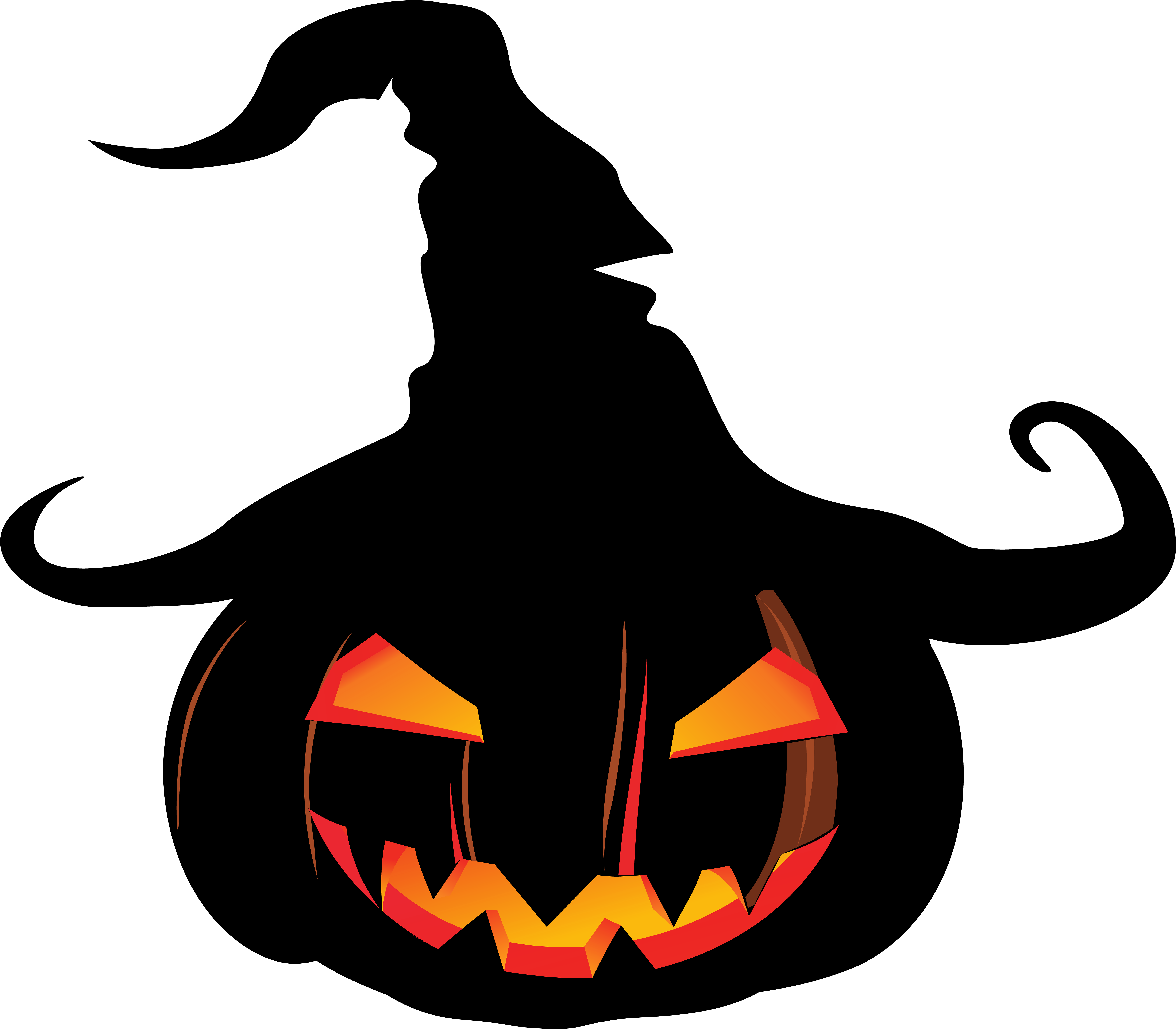 Scary Pumpkin With Witch Hat Clipart.