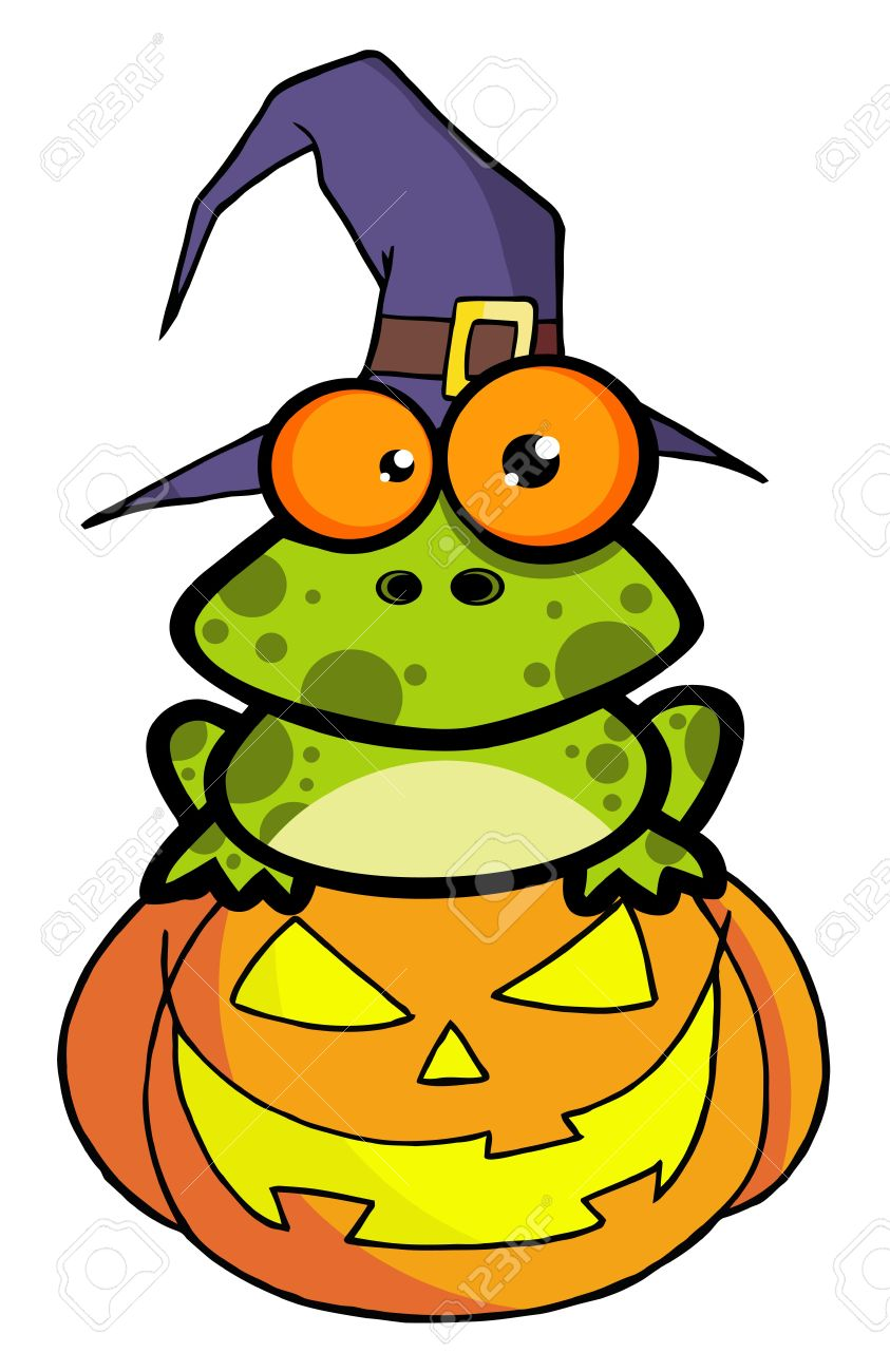 Frog With A Witch Hat In Pumpkin Royalty Free Cliparts, Vectors.
