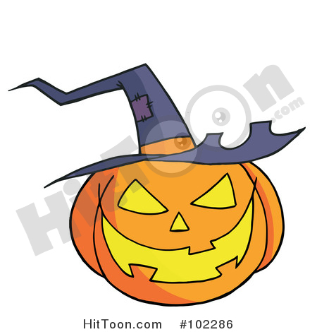 Halloween Clipart #102286: Jack O Lantern Wearing a Witch Hat by.