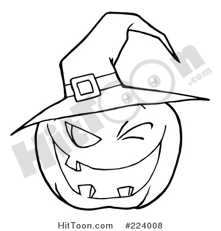Halloween Pumpkin Clipart #224008: Coloring Page Outline of a.