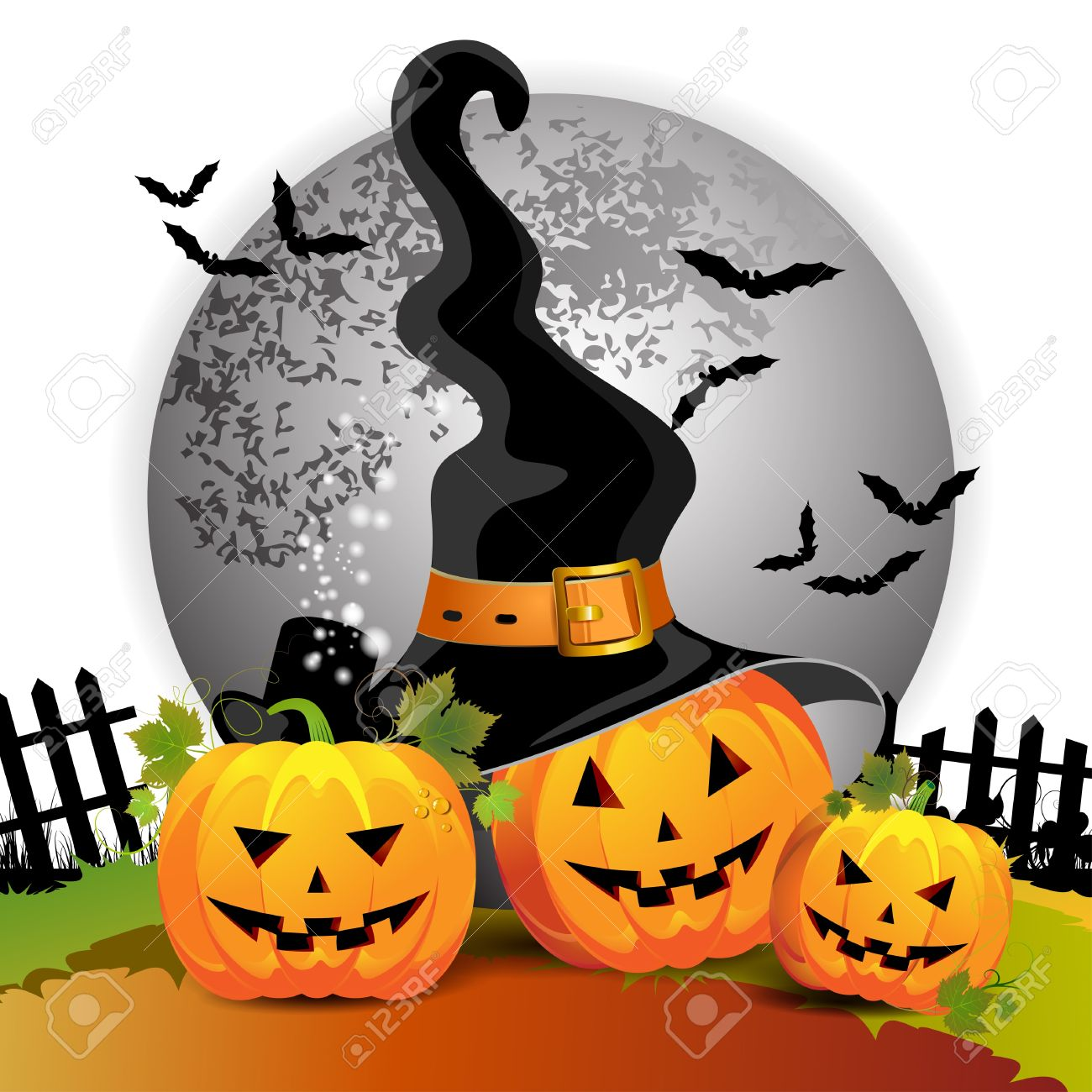 Halloween Pumpkin With Witches Hat Royalty Free Cliparts, Vectors.