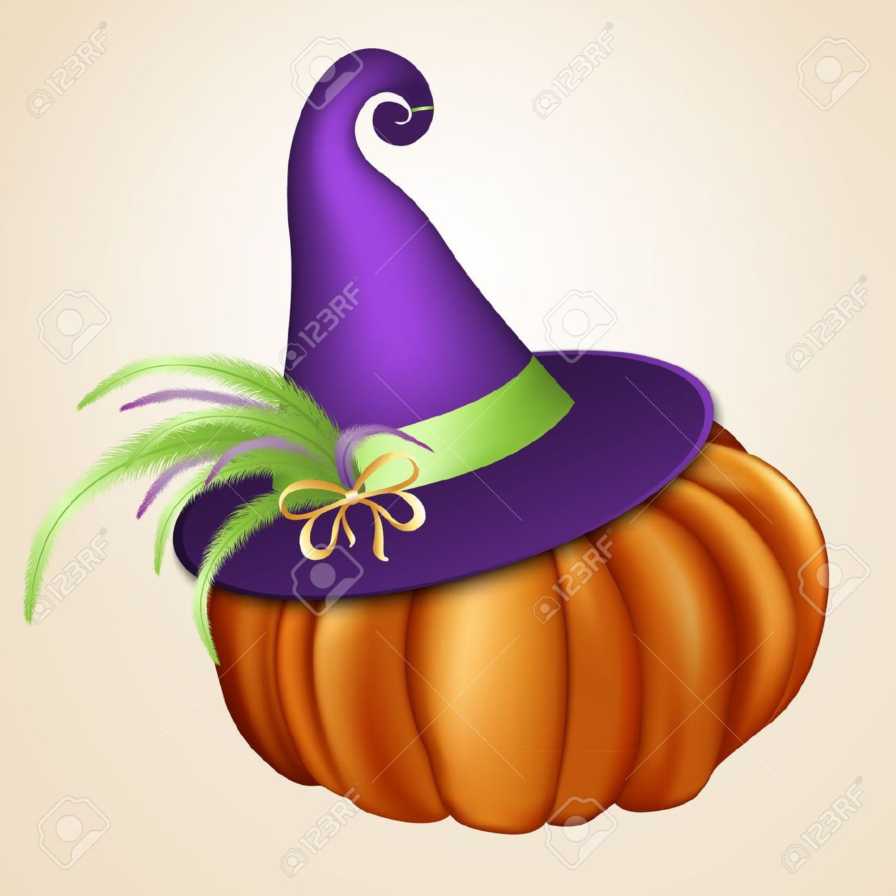 Halloween Orange Pumpkin With Violet Witch Hat Royalty Free.