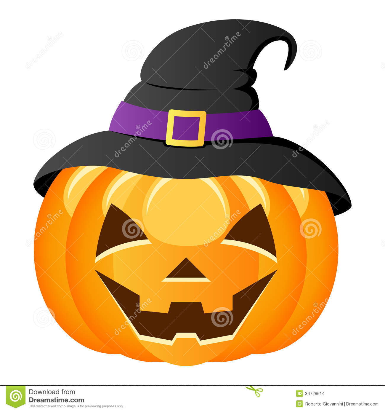 Halloween Pumpkin With Witch Hat Stock Images.