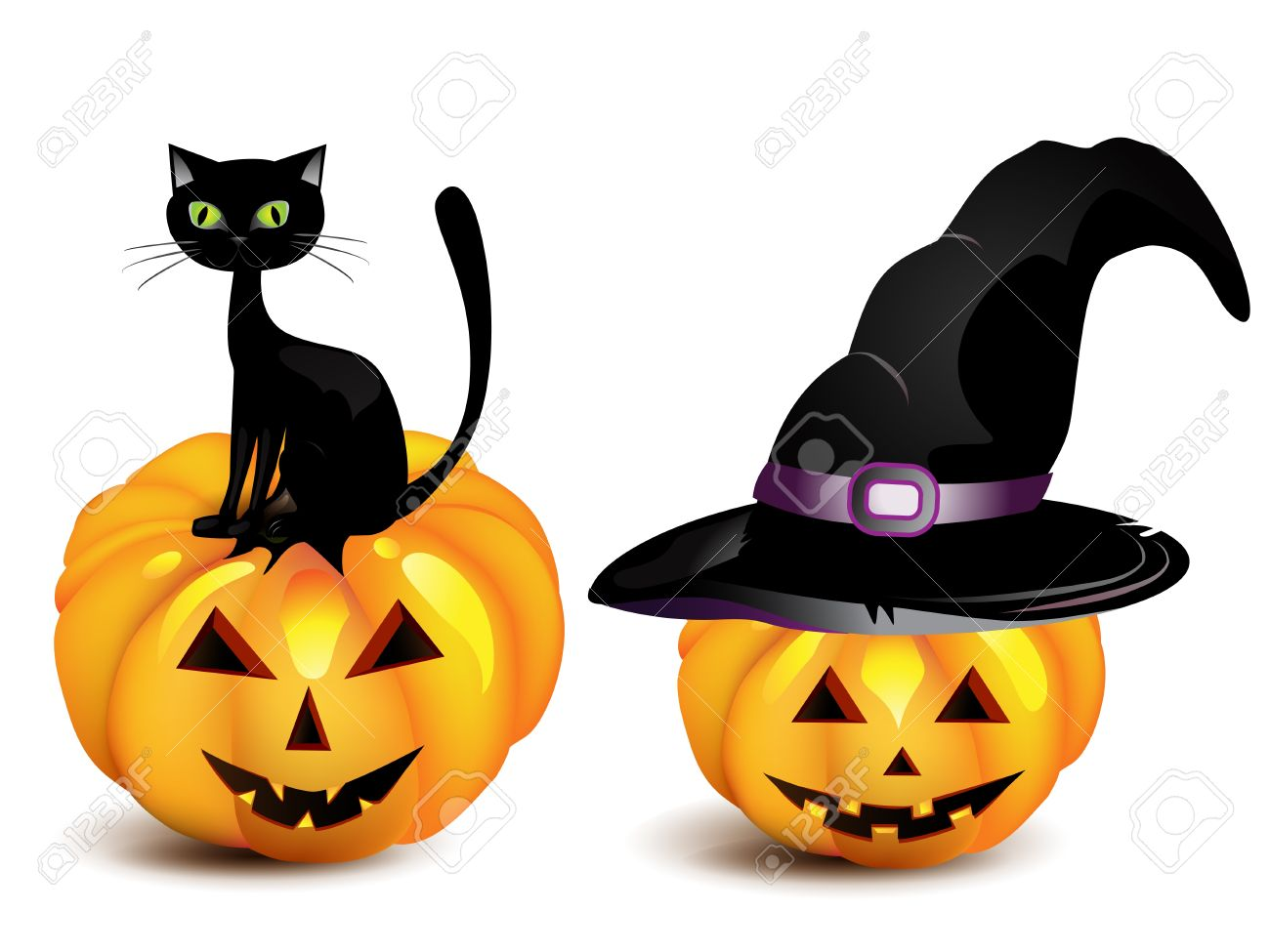 Halloween Pumpkin In The Black Witch Hat And Cat Royalty Free.