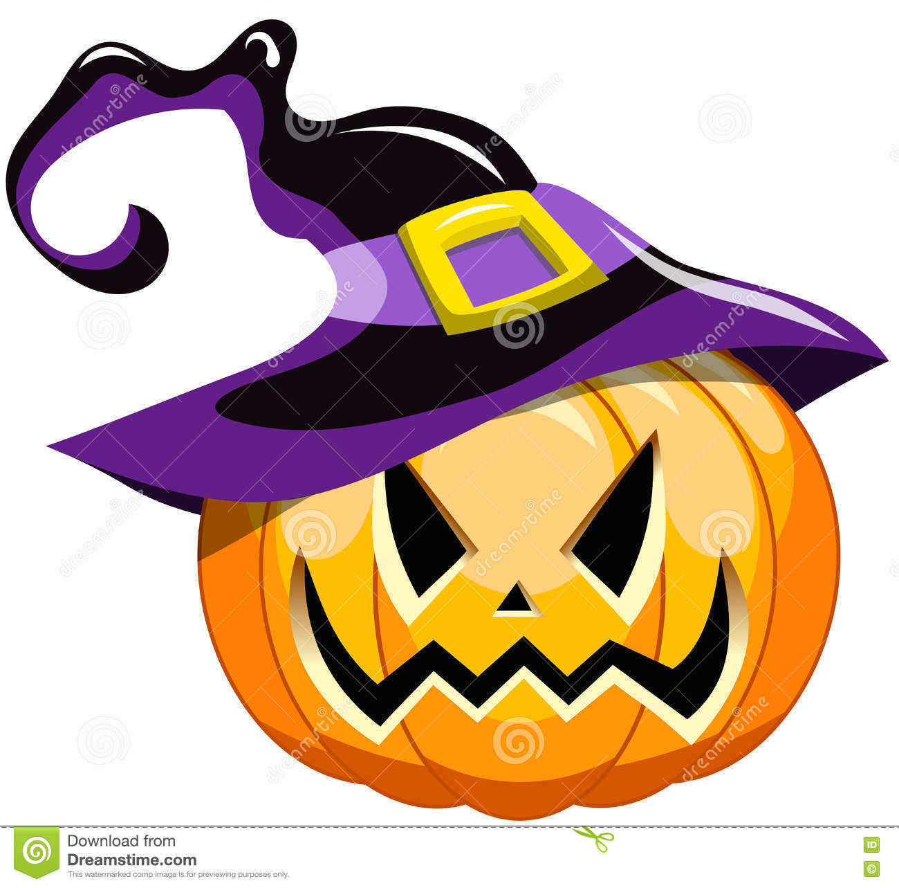 Cartoon Halloween Pumpkin Witch Hat Stock Vector.