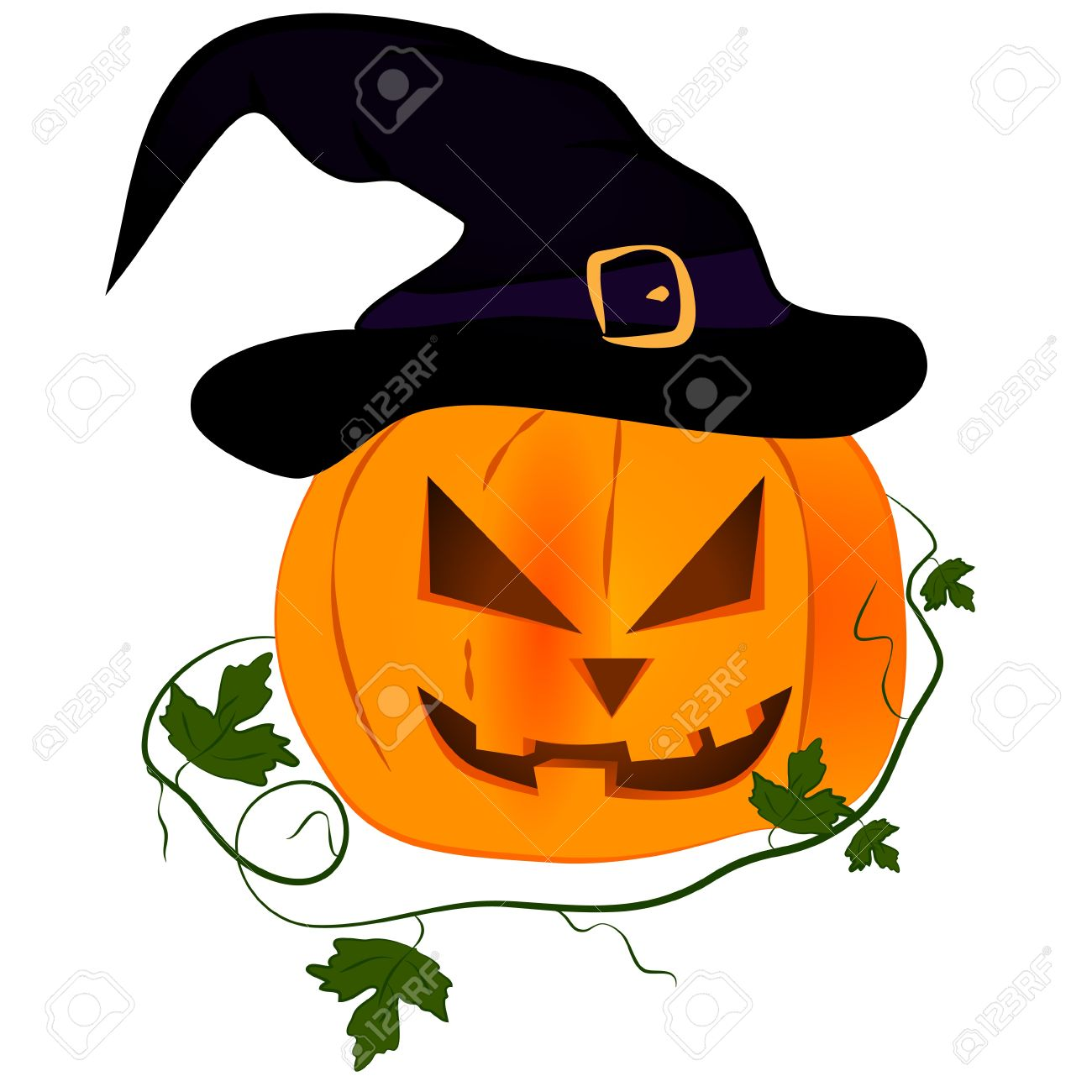 Color, Orange Pumpkin With Purple Witch Hat, Royalty Free Cliparts.