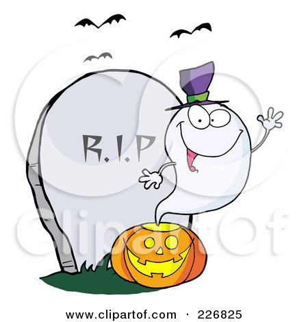 Clipart Illustration Of A Goofy Blue Toothy Ghost Sticking His.