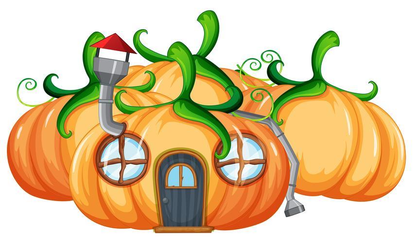 Pumpkin house on white background.