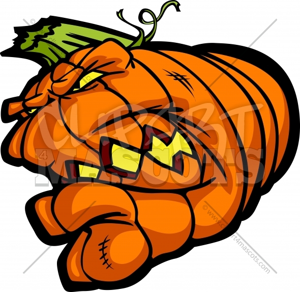 Pumpkin Head Clipart Cartoon Vector Halloween Image.