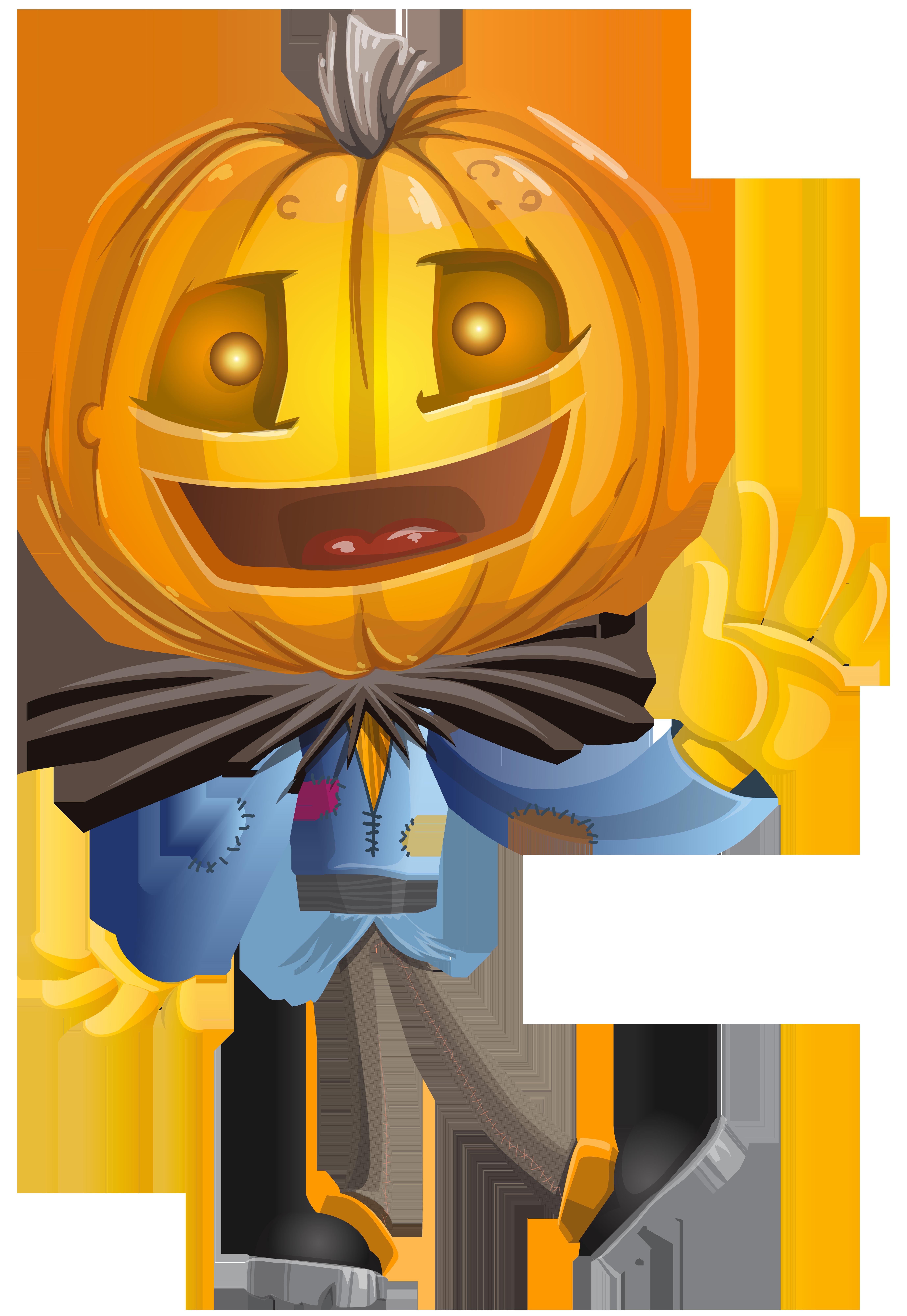 Pumpkin Head PNG Clip Art Image.
