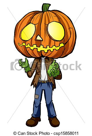 Clipart of Pumpkin Head.