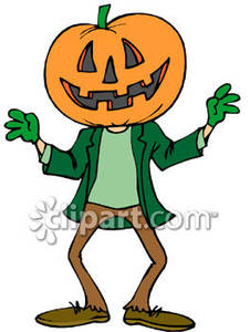 Head Halloween Creature Royalty Free Clipart Picture.