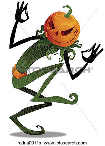 Stock Illustration of Scary pumpkin head man rodria0011s.