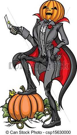 Vector Clipart of Halloween Pumpkin Head Jack with Bl.