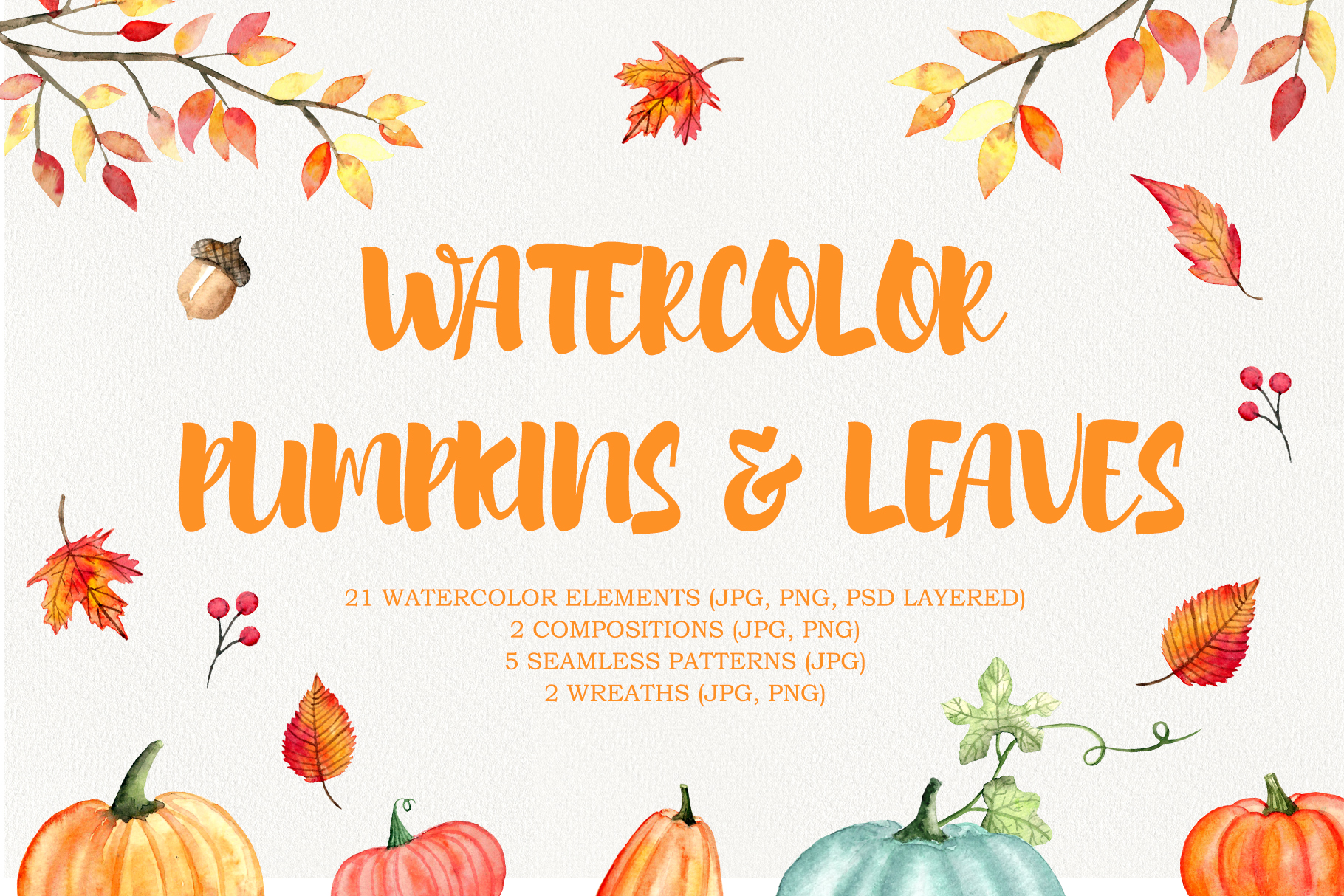 Watercolor pumpkins and leaves clipart.