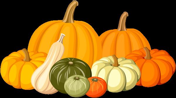 Autumn Pumpkins PNG Clip Art Image.