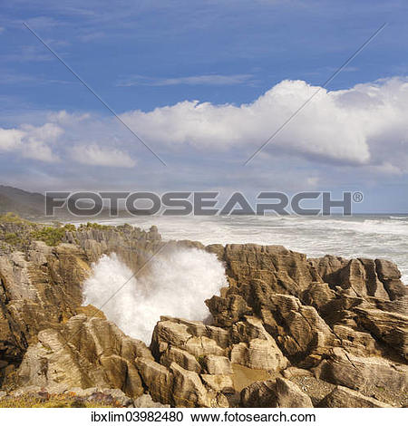 "Stock Photography of ""Blowholes, Punakaiki, West Coast, South."