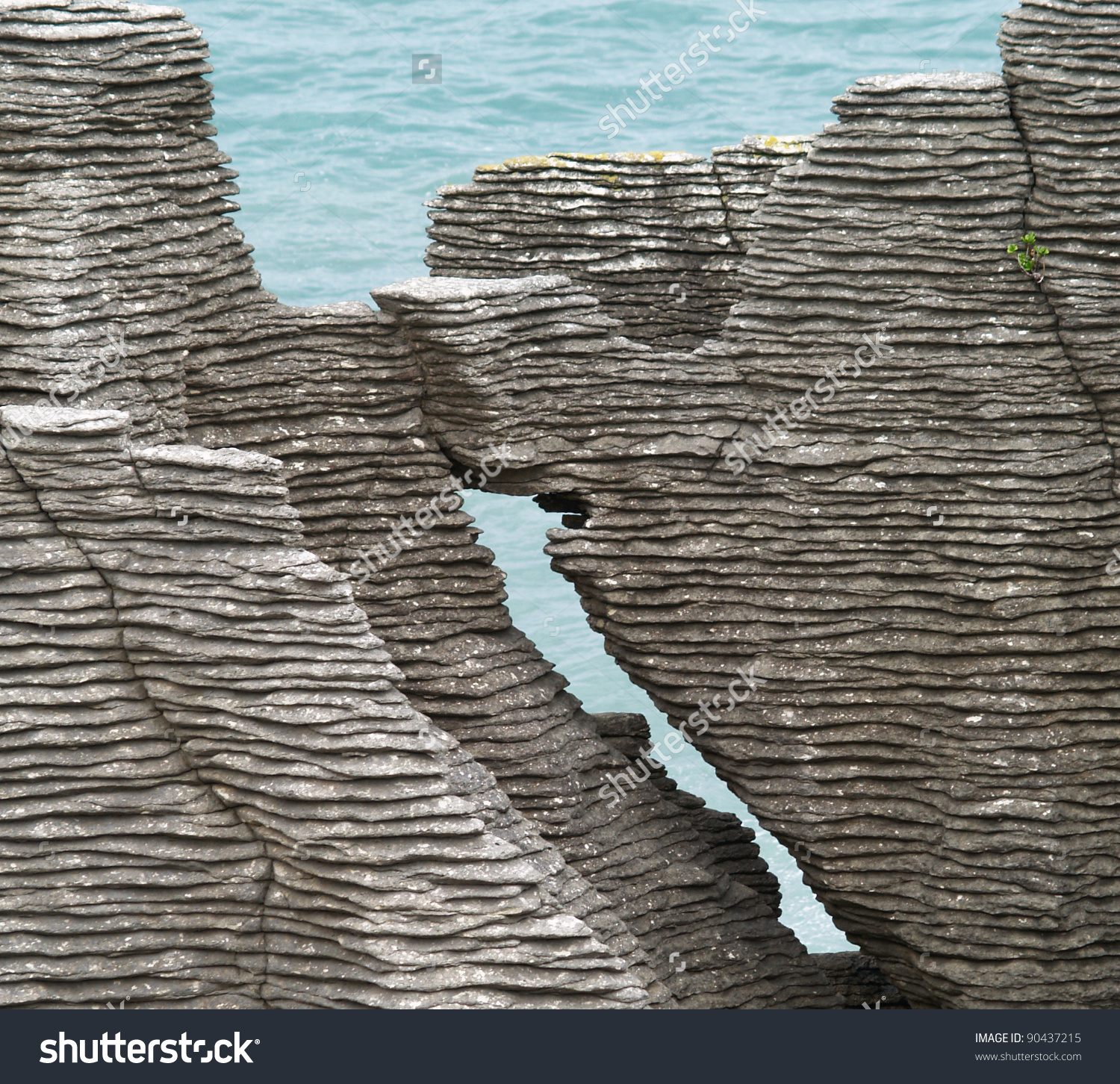 Detail Pancake Rocks Punakaiki South Island Stock Photo 90437215.
